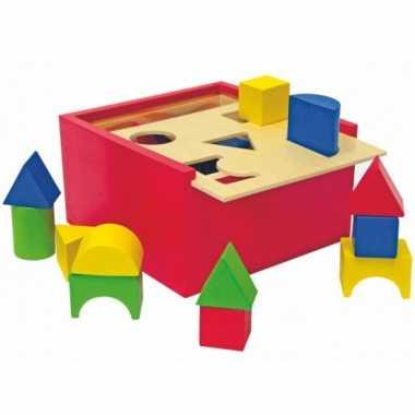 Doos houten speel blokken 1 jaar