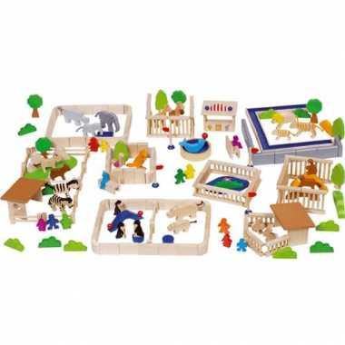 Houten bouwblokken dierentuin kinderen 1 jaar