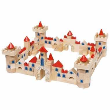 Houten bouwblokken kasteel kinderen 1 jaar