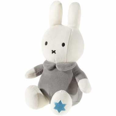 Pluche nijntje knuffel wit/grijs baby speelgoed 1 jaar